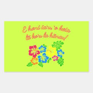 HAWAII Kiss Me It's My Birthday in Hawaiian Rectangular Sticker