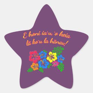HAWAII Kiss Me It's My Birthday in Hawaiian Star Sticker