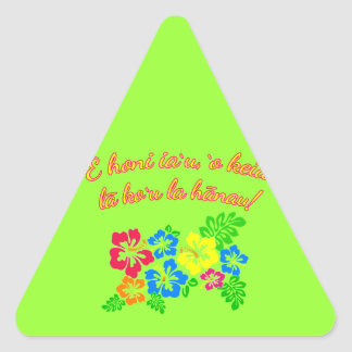 HAWAII Kiss Me It's My Birthday in Hawaiian Triangle Sticker