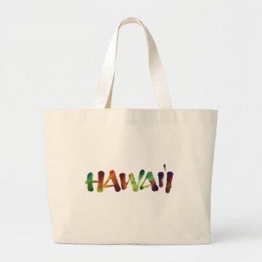 Beach Themed Hawai'i Lettering - Colorful Hawaii Beach Fun Large Tote Bag