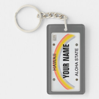 Hawaii License Plate (customizable) Rectangle Acrylic Key Chains