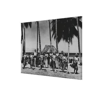 Hawaii - Line of Hula Girls Dancing Canvas Print
