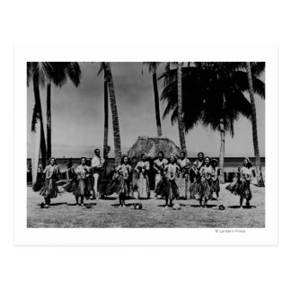 Hawaii - línea de baile de los chicas de Hula Tarjeta Postal