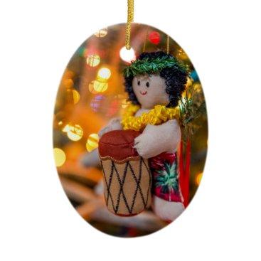 Beach Themed Hawaii Little Drummer Boy Oval Christmas Ornament