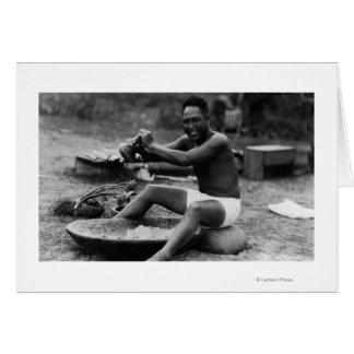 Hawaii - Man Pounding Taro to Make Poi Card