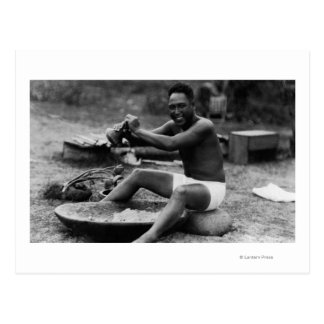 Hawaii - Man Pounding Taro to Make Poi Postcard
