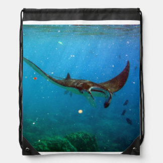 Hawaii Manta Ray Drawstring Bag