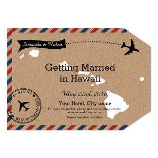 Hawaii Map Airmail Luggage Tag Save Dates 5x7 Paper Invitation Card