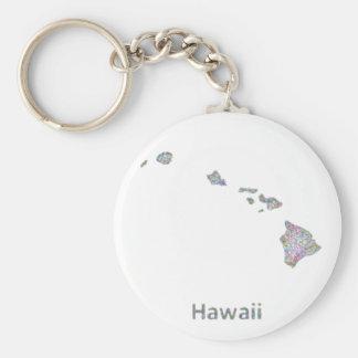 Hawaii map basic round button keychain