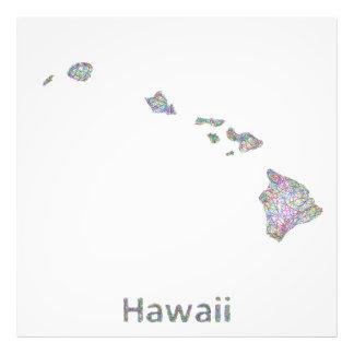 Hawaii map photo print