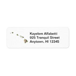 Hawaii Map Return Address Label