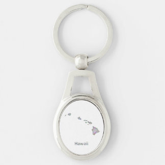 Hawaii map Silver-Colored oval metal keychain