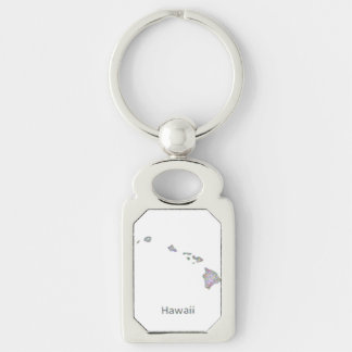 Hawaii map Silver-Colored rectangular metal keychain