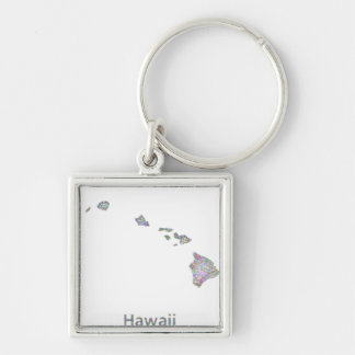 Hawaii map Silver-Colored square keychain