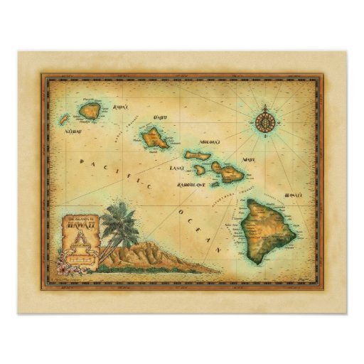 Hawaii Map, Sizes 1 Poster