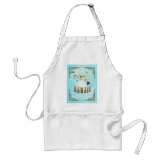 Hawaii Map With Lovely Birds Adult Apron