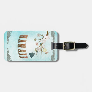 Hawaii Map With Lovely Birds Tag For Luggage