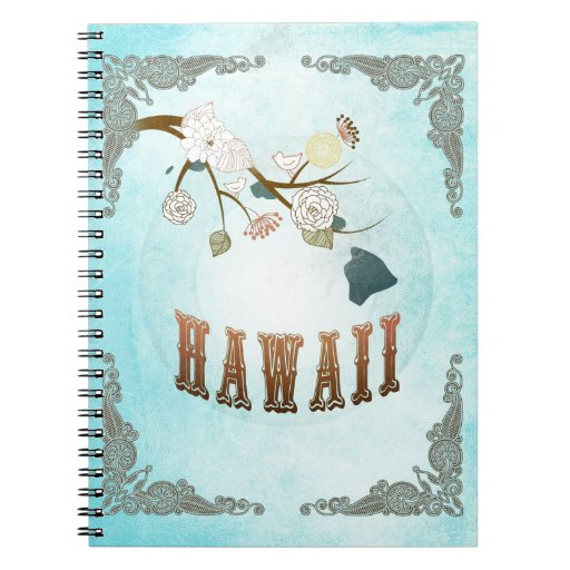 Hawaii Map With Lovely Birds Spiral Notebooks