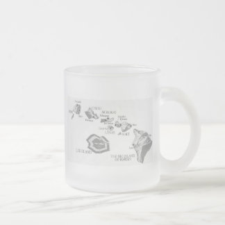 HAWAII MAP with rarely seen LEI ISLAND Frosted Glass Coffee Mug