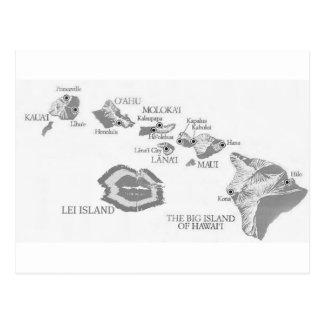 HAWAII MAP with rarely seen LEI ISLAND Postcard
