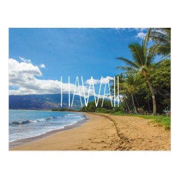 Beach Themed Hawaii Maui beach tropical ocean travel photograph Postcard