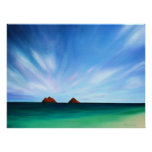Hawaii Mokulua Islands Ocean Art Poster Print