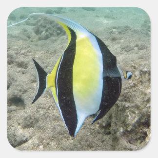 Hawaii Moorish Idol Fish Square Sticker