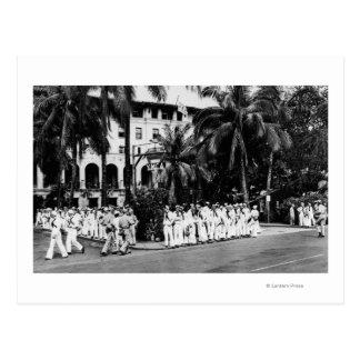 Hawaii - Navy Boys Waiting for Bus Outside YMCA Postcard