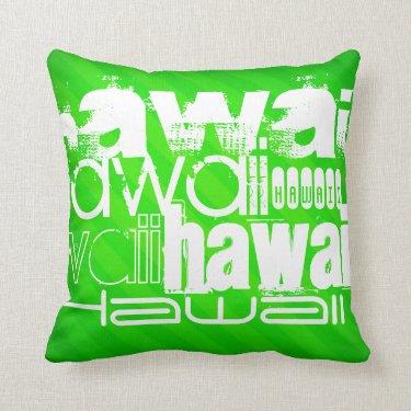 Hawaii; Neon Green Stripes Throw Pillows