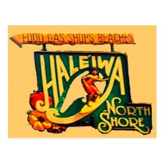 Hawaii North Shore Beach Sign postcard