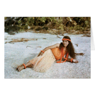 Hawaii NOTECARD: Chica de Hula hawaiano circa 1910 Tarjeta Pequeña