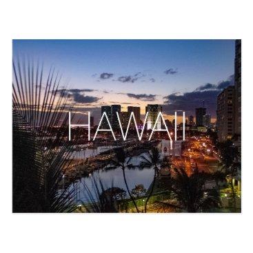 Hawaiian Themed Hawaii Oahu Honolulu skyline travel photograph Postcard