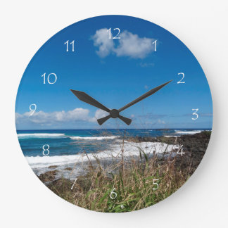 Hawaii Ocean Waves Beach Grasses Large Clock
