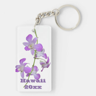 Hawaii Orchids purple and white Keychain