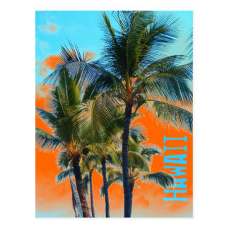 Hawaii palm orange art postcard