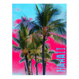 Hawaii palm pink art postcard