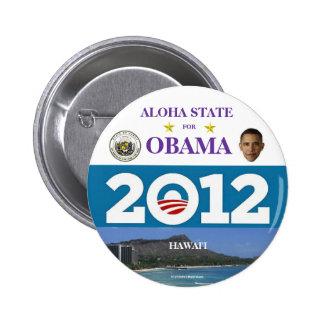HAWAII PARA EL BOTÓN DE OBAMA EN 2012 INBACK PIN REDONDO DE 2 PULGADAS