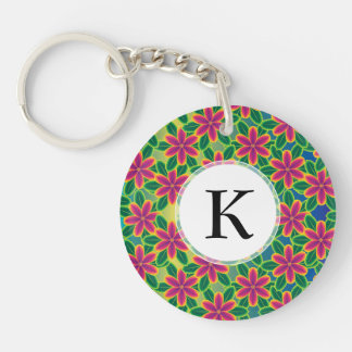 Hawaii Passion Hot Pink Tropical Flower Power Double-Sided Round Acrylic Keychain