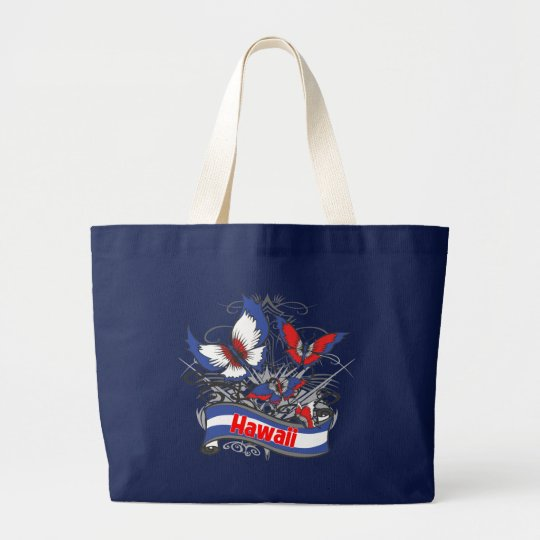 Hawaii Patriotism Butterfly Large Tote Bag