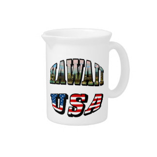 Hawaii Picture and USA Flag Text Beverage Pitcher