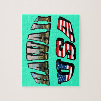 Hawaii Picture and USA Flag Text Jigsaw Puzzle