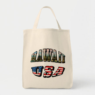 Hawaii Picture and USA Flag Text Tote Bag