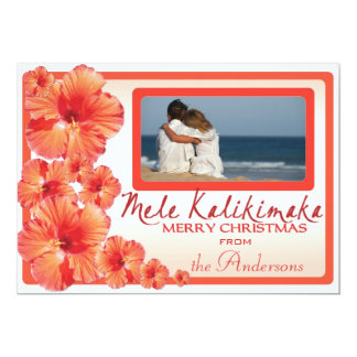 Hawaii pink hibiscus custom photo Christmas cards