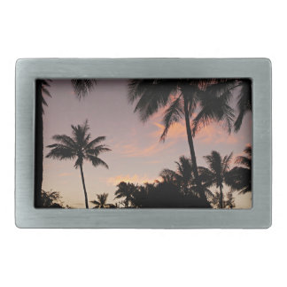 Hawaii pink sunset rectangular belt buckle