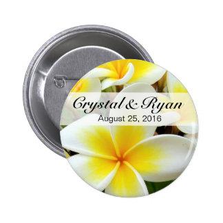 Hawaii Plumeria Frangipani Flowers | yellow white Button