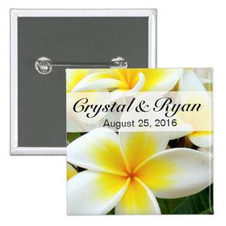 Hawaii Plumeria Frangipani Flowers | yellow white Pinback Button