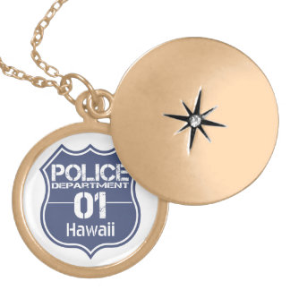 Hawaii Police Department Shield 01 Round Locket Necklace