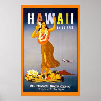 Hawaii por el poster del viaje del vintage de las
