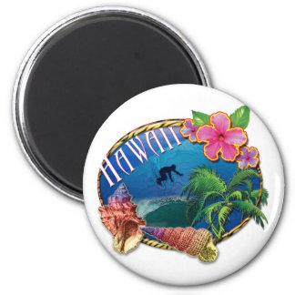 Hawaii que practica surf imán redondo 5 cm
