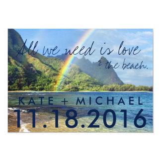 Hawaii Rainbow Beach Eloped Wedding Announcement